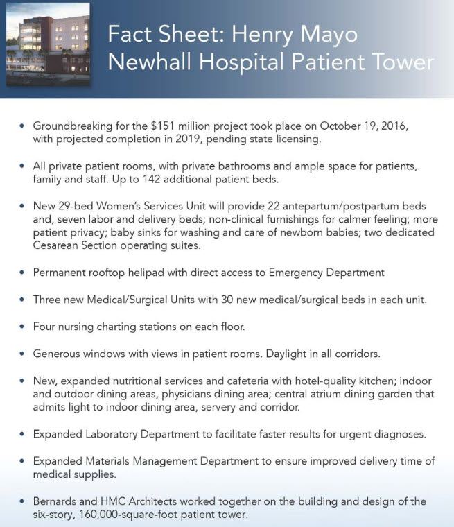 Fact Sheet for Henry Mayo Newhall Hospital Patient Tower