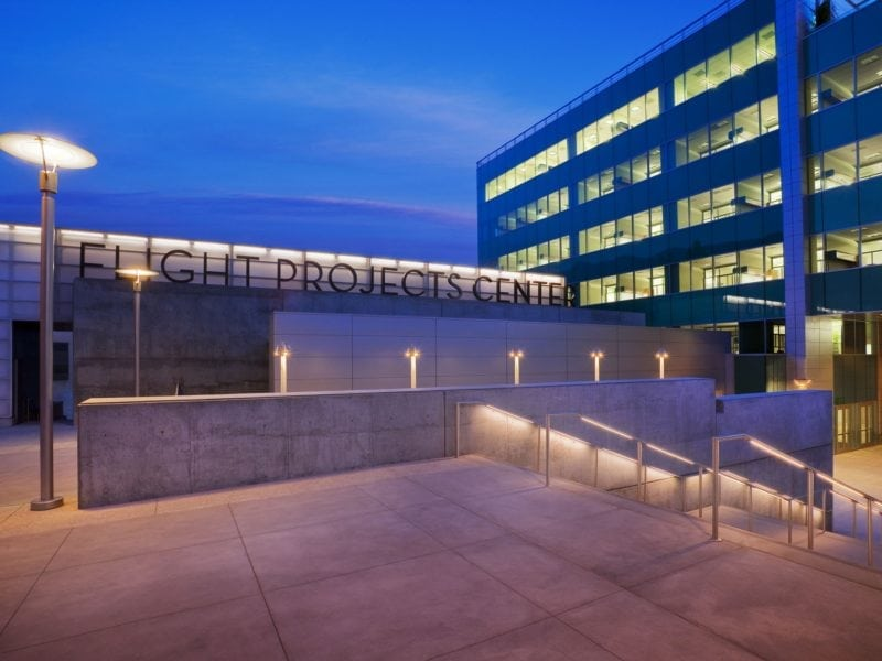 JPL Flight Projects Center at Night