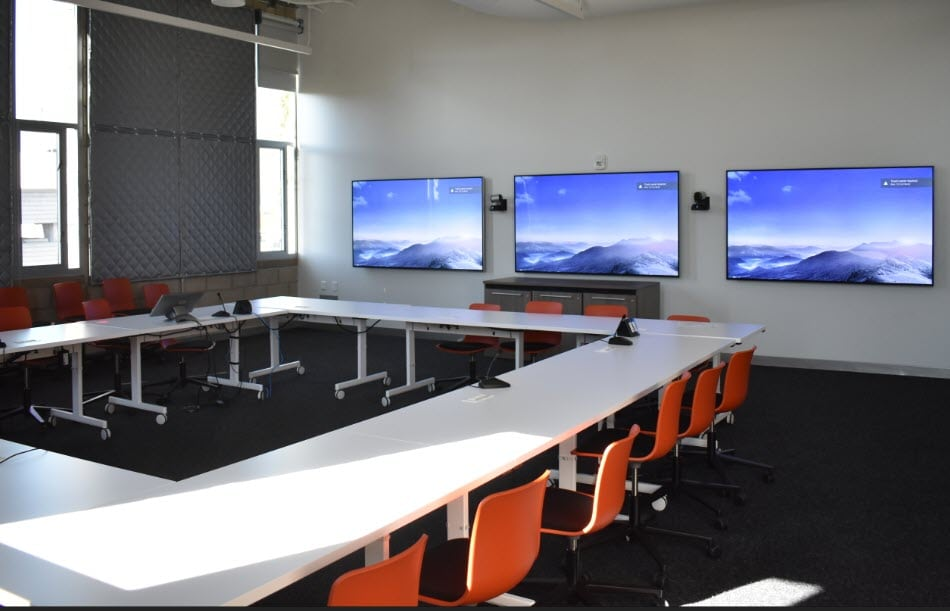 UCLA Geffen Academy - Large Classroom with 3 Monitors