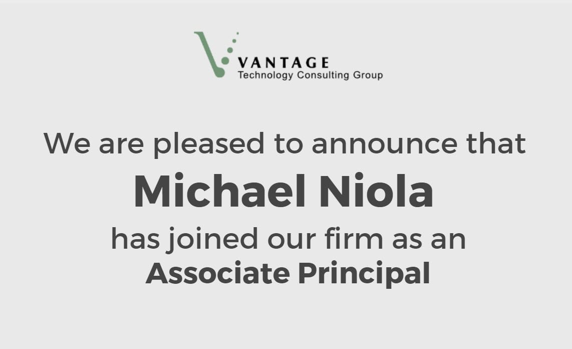 We are Pleased to Announce that Michael Niola