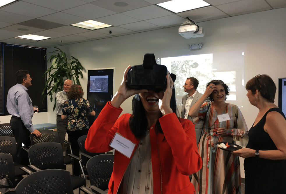 Helene Jubany from NAC tries out VR during the hands-on portion of the event