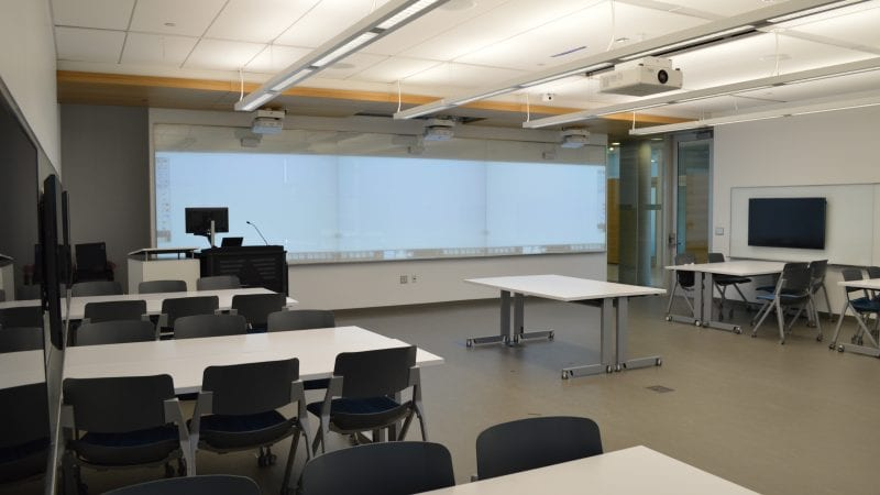 LMU Life Sciences Classroom with Multiple Projectors