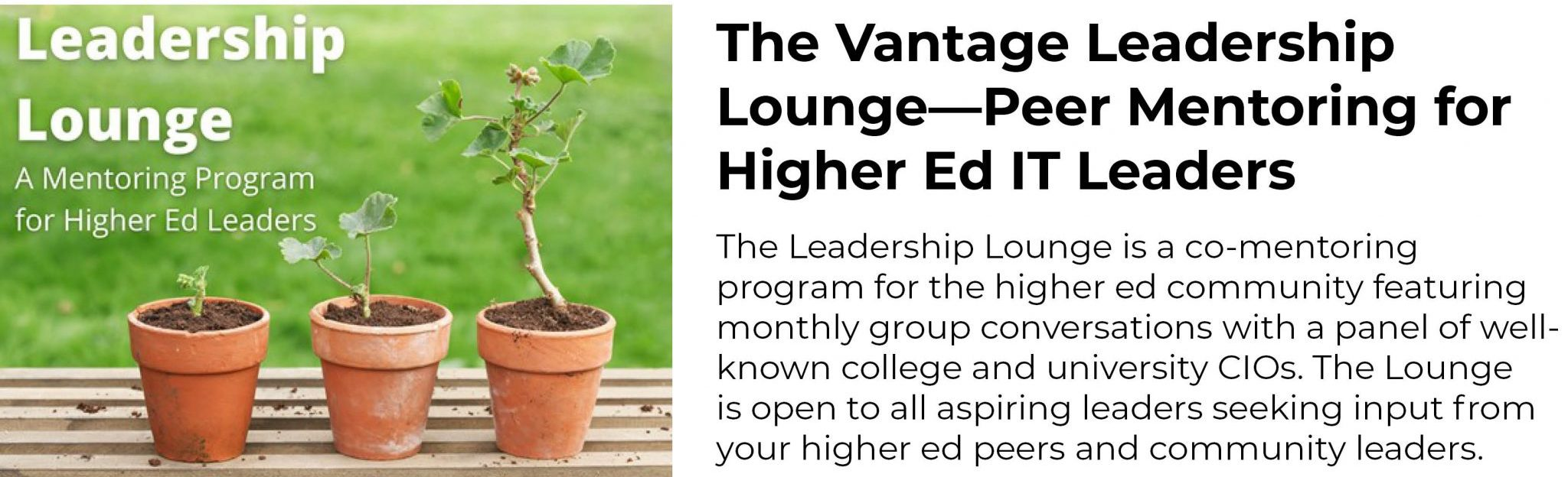 The Vantage Leadership Lounge—Peer Mentoring for Higher Ed IT Leaders The Leadership Lounge is a co-mentoring program for the higher ed community featuring monthly group conversations with a panel of well-known college and university CIOs. The Lounge is open to all aspiring leaders seeking input from your higher ed peers and community leaders.